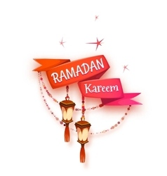 Banner with red ribbon and arabic lantern for holy vector