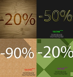 50 90 20 icon set of percent discount on abstract vector