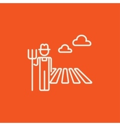 Farmer with pitchfork line icon vector