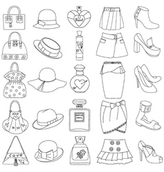 Set of outlined shoes handbags skirts hats perfume vector