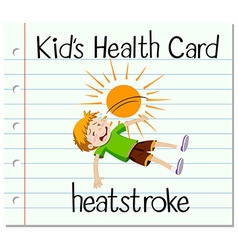 Health card with boy having heat stroke vector