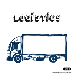 Hand drawn delivery truck vector