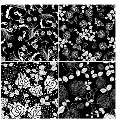 Floral seamless set vector