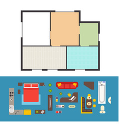apartment plan and furniture set vector image vector image