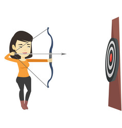 Archer aiming with bow and arrow at the target vector