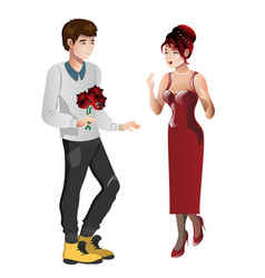 boy character gives gift bouquet flowers to girl vector image
