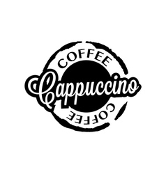Cappuccino coffee stain badges black and white vector