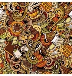 Cartoon hand-drawn doodles of cafe coffee shop vector image