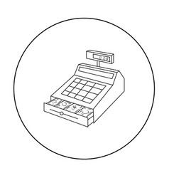 cashbox icon in outline style isolated on white vector image