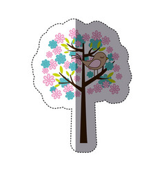 Color sticker silhouette with floral tree and bird vector