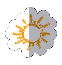 Color sticker with hand drawn sun close up vector