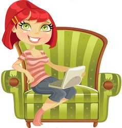 cute girl with laptop vector image
