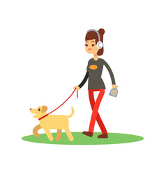 dogs clean walking concept - girl walks dog vector image vector image