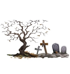 Dry dead tree and cemetery with graves vector