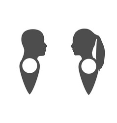 face silhouette in profile on map pin vector image