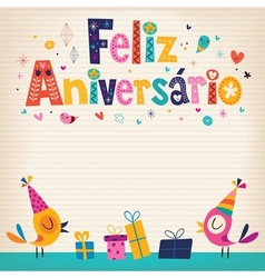 Feliz aniversario portuguese happy birthday card 3 vector