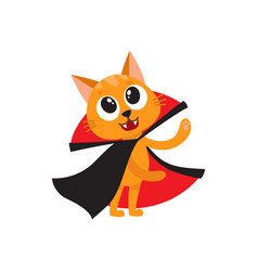 Flat cat dressed up like count dracula vector
