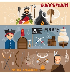 Flat design banners with cavemanpirate and native vector