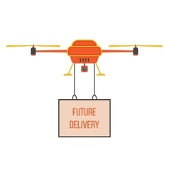 future delivery with red and yellow quadrocopter vector image