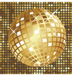 Golden disco ball3 vector image vector image