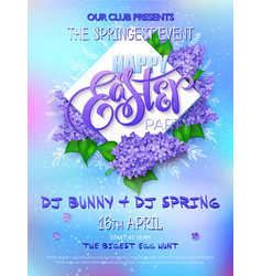 Happy easter party poster with lettering vector