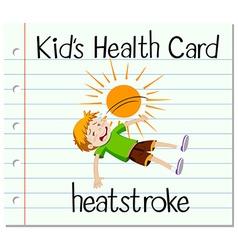 Health card with boy having heat stroke vector image
