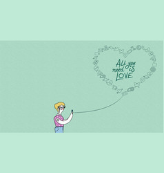 Internet love concept design woman on phone vector