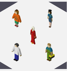 isometric people set of lady female plumber and vector image
