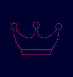 King crown sign line icon with gradient vector