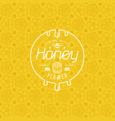 Label for honey and flower seamless pattern vector
