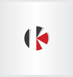 letter k red black circle icon logo vector image vector image