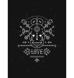 Love card with line romantic and abstract elements vector image