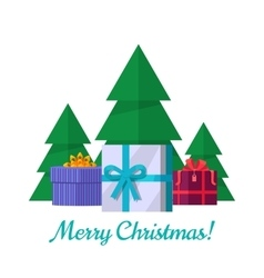 Merry Christmas Concept in Flat Design vector image vector image