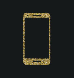 mobile phone icon with glitter effect isolated on vector image vector image