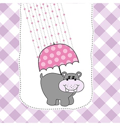 New baby invitation with hippopotamus vector