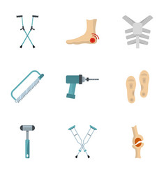 Orthopedic prosthetic icon set flat style vector