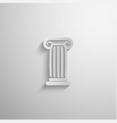 paper 3d ancient column icon with long shadow vector image