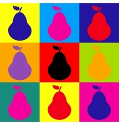 Pear sign pop-art style icons set vector