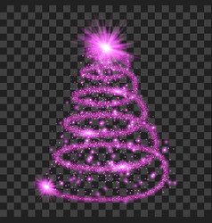 Purple particle wave in form of christmas tree vector