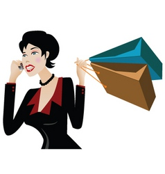 shopper on the phone vector image vector image