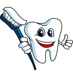 Smiling tooth with tooth-brush vector image