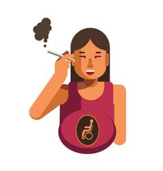 Smoking cigarette woman health disease risk vector
