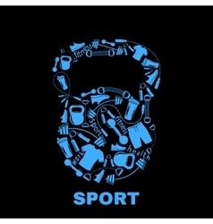 Sports equipment inside kettlebell vector image