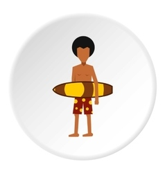 Surfer man icon flat style vector