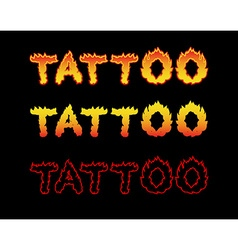 Tattoo fire letters flame lettering comics font vector