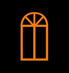 Window simple sign orange icon on black vector