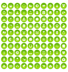 100 religious festival icons set green circle vector