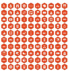 100 voyage icons hexagon orange vector
