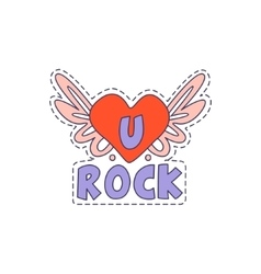 U rock winged heart bright hipster sticker vector