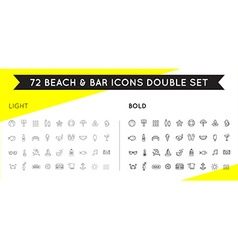 Set of thin and bold beach sea bar elements vector